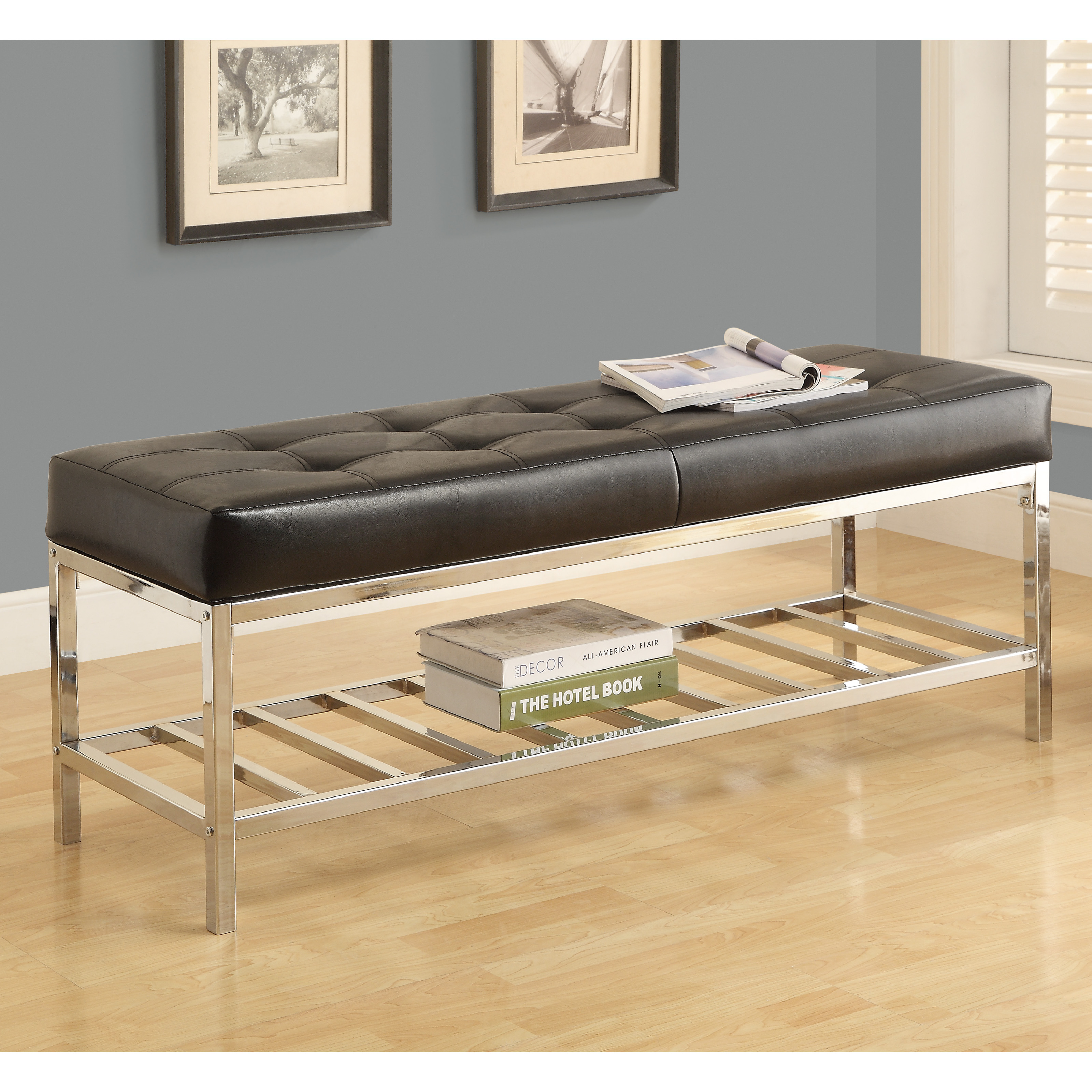 Metal Bench with Leather Cushion   Black   Chrome   Indoor Benches at  Hayneedle. Monarch 48 in  Metal Bench with Leather Cushion   Black   Chrome