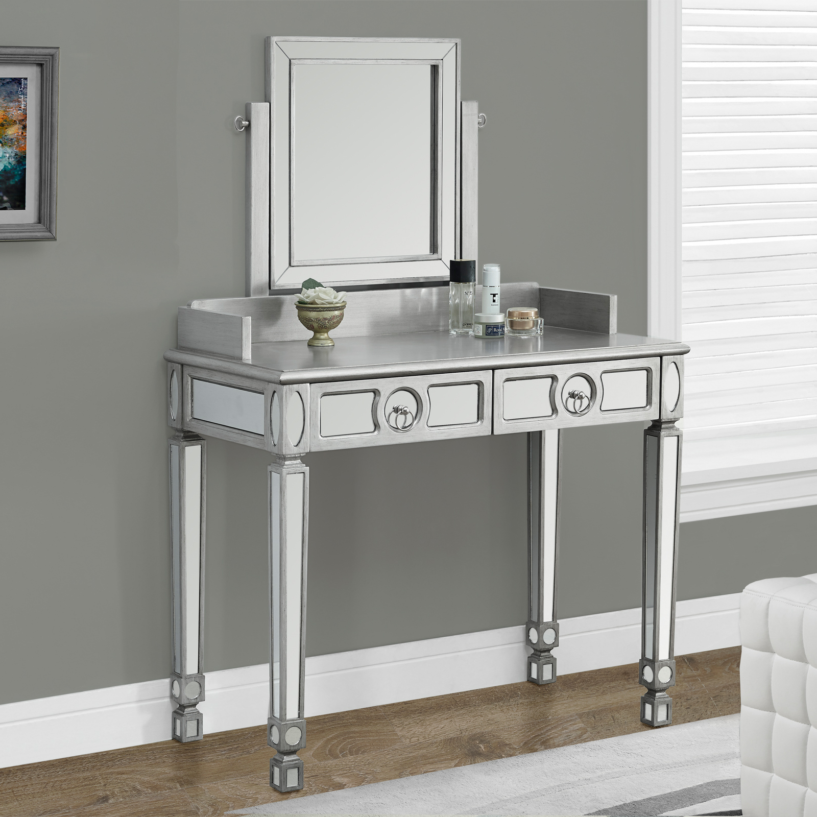 Monarch Specialties Brushed Silver Bedroom Vanity & Mirror | Hayneedle