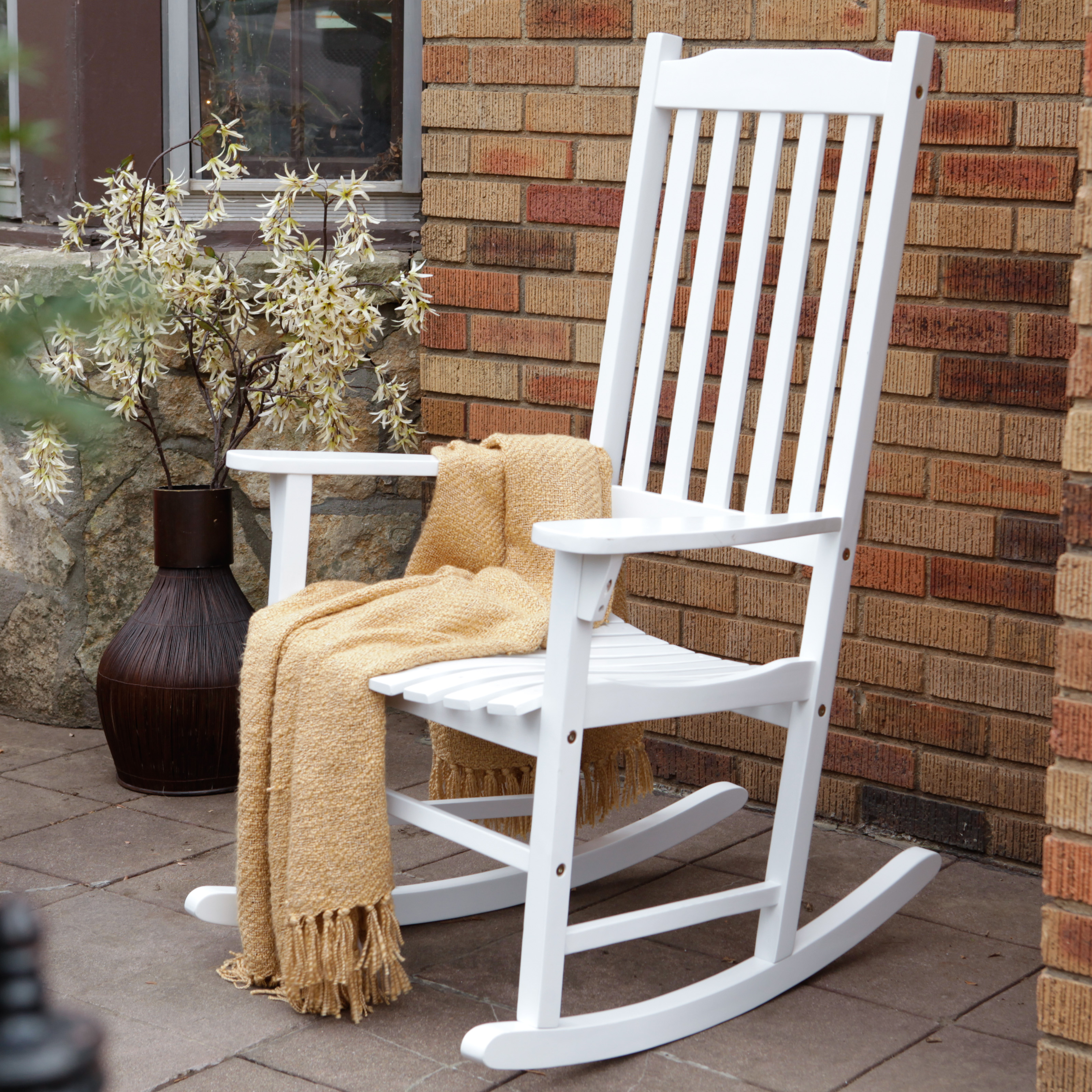 Coral Coast Indoor Outdoor Mission Slat Rocking Chair White