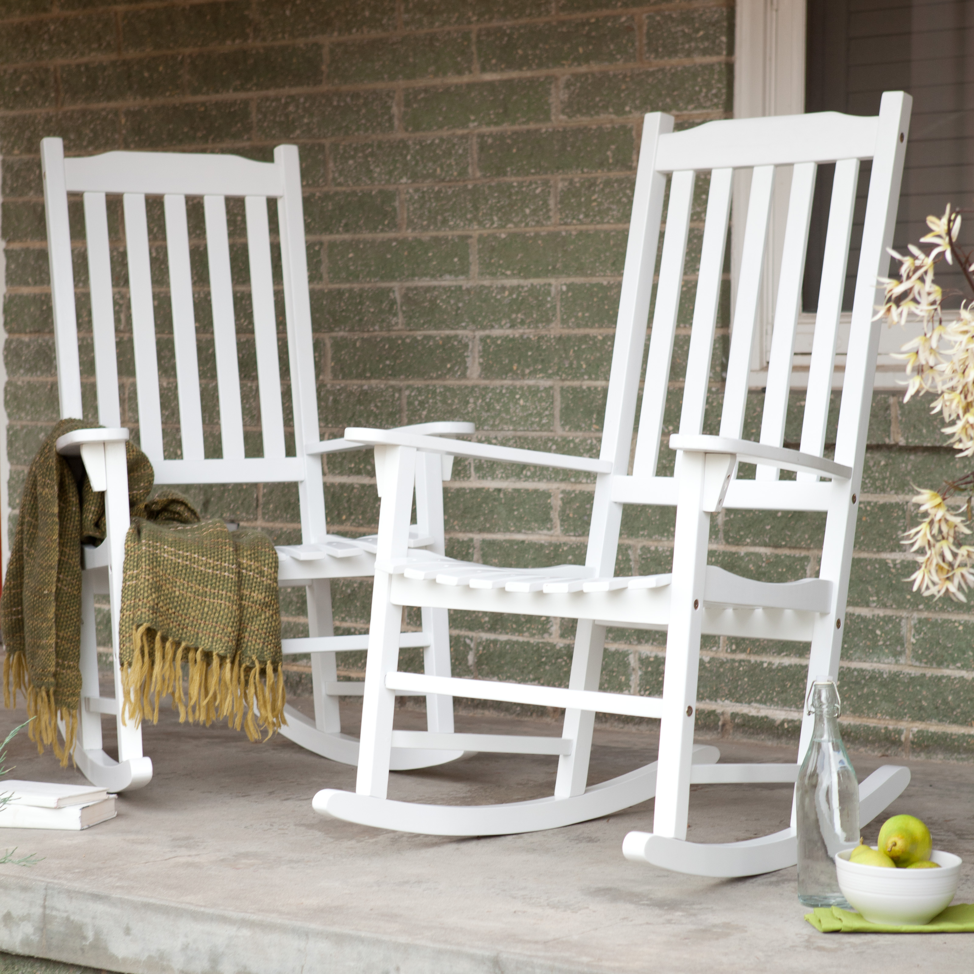 Coral Coast Indoor/Outdoor Mission Slat Rocking Chairs - White - Set of 2 | Hayneedle & Coral Coast Indoor/Outdoor Mission Slat Rocking Chairs - White - Set ...