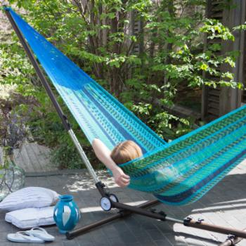 Coral Coast XXL Ocean Stripe Mazatlan Mayan Double Hammock with Adjustable Stand