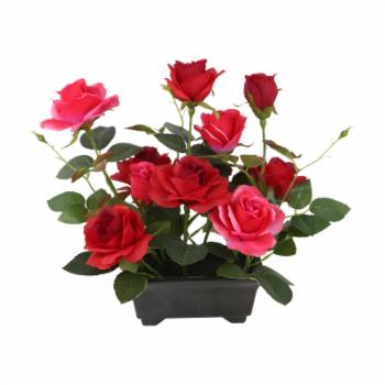 National Tree Company Artificial Potted Red Rose Flowers