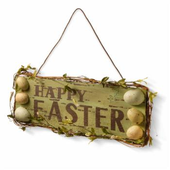 National Tree Company Happy Easter Wood Wall Sign