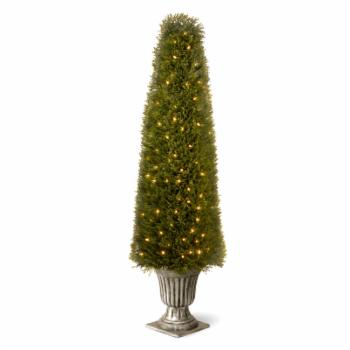 60 in. Lighted Juniper Topiary with Silver Urn