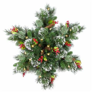 32 in. Wintry Pine Pre-Lit Battery Operated Snowflake Wreath