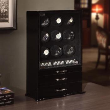 Exquisite 17-Watch Winder and Storage - High Gloss Black