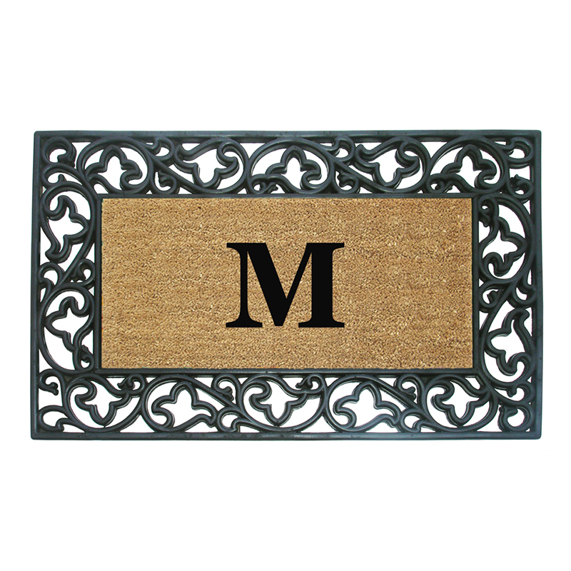 Nedia Home Wrought Iron Rubber Coir Door Mat Acanthus Border With Monogram