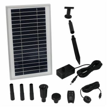 Sunnydaze Decor Remote Controlled LED Solar Pump and Panel Kit with Battery Pack - 105 GPH