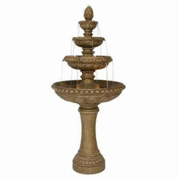 Sunnydaze Decor 4 Tier Eggshell Outdoor Water Fountain with LED Light