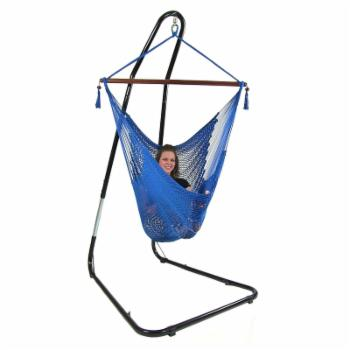 Sunnydaze Decor Hanging Caribbean Extra Large Hammock Chair with Adjustable Stand