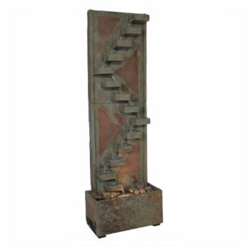 Sunnydaze Decor Descending Staircase Slate Water Fountain with LED Spotlight