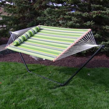 Sunnydaze Decor Quilted 2 Person Freestanding 15 ft. Hammock with Spreader Bar and Stand