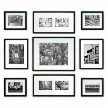 Nielsen Bainbridge Gallery Perfect Wall Picture Frame Kit - Set of 9 - Black