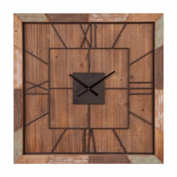 Nielsen Bainbridge Oversized Square Distressed Wood Plank and Metal 39 in. Wall Clock