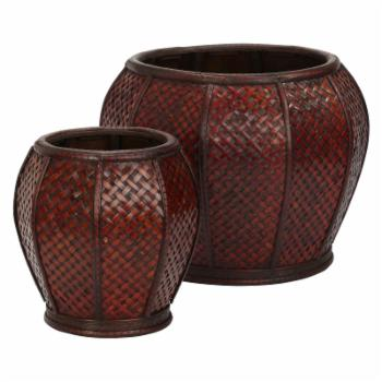 Nearly Natural Rounded Weave Decorative Planters - Set of 2