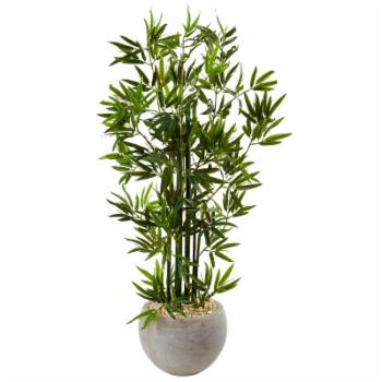 Nearly Natural 4 ft. Bamboo Artificial Tree with Sand Colored Bowl