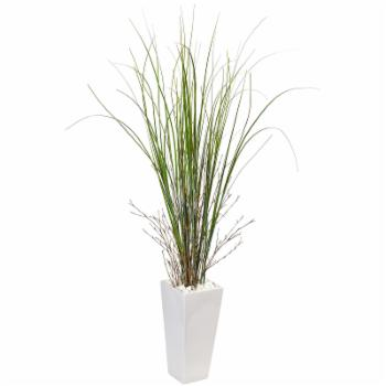 Nearly Natural Bamboo Grass Silk Plant with White Ceramic Planter