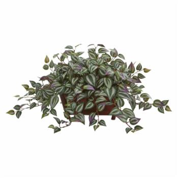 Nearly Natural Artificial Wandering Jew in Wooden Planter