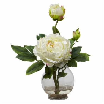 Peony with Fluted Vase Silk Flower Arrangement