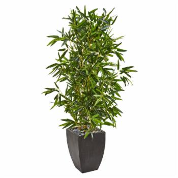 Nearly Natural Real Touch Indoor/Outdoor Artificial Bamboo Tree in Black Planter