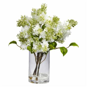 White Lilac Silk Flower Arrangement