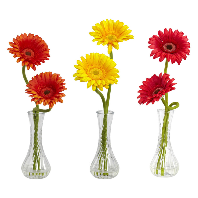Gerber Daisy With Bud Vase Set Of 3 Hayneedle