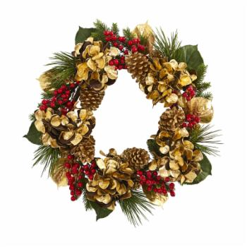 Nearly Natural 24 in. Golden Hydrangea with Berries and Pine Artificial Christmas Wreath
