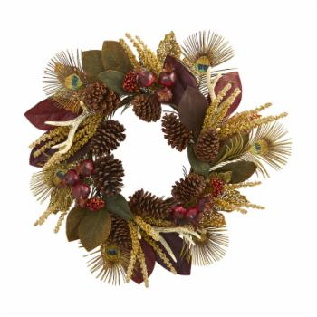 Nearly Natural 27 in. Magnolia Leaf Berry Antler and Peacock Feather Artificial Wreath