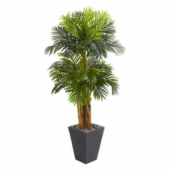 Nearly Natural Artificial Triple Areca Palm Tree in Slate Planter