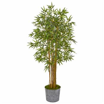 Nearly Natural 5 ft. Bamboo Artificial Tree in Tin Planter