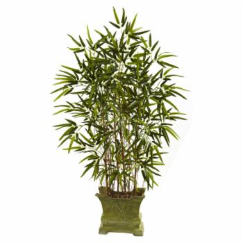 Nearly Natural 4 ft. Bamboo Silk Tree with Decorative Planter