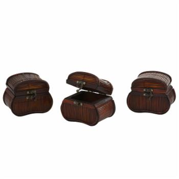 Nearly Natural Bamboo Chests - Set of 3