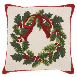 mina victory home for the holiday christmas wreath decorative throw pillow