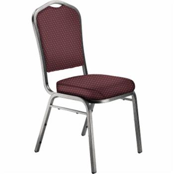 National Public Seating 9300 N Series Fabric Stacking Chair - Burgundy Pattern/Silver Frame
