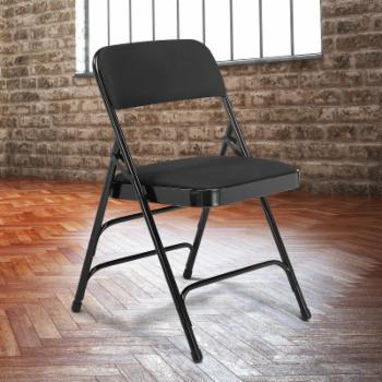 National Public Seating Fabric Triple Brace Premium Folding Chair - Set of 4