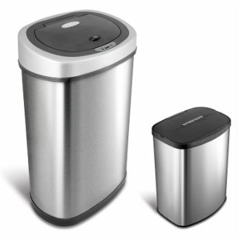 Nine Stars Combo Touchless Stainless Steel 13.2 and 2.1 Gallon Trash Can