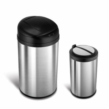 Nine Stars Combo Touchless Stainless Steel 10.5 and 3.2 Gallon Trash Can