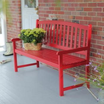 Coral Coast Pleasant Bay 5 ft. Slat Curved-Back Outdoor Wood  Bench - Red