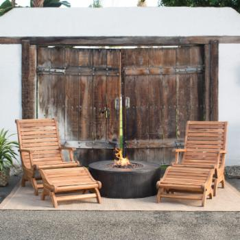 Belham Living Avondale 5 pc. Adirondack Chairs & Ottomans with Whitehall Gas Fire Pit Chat Set