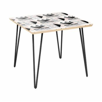 Nyekoncept Mason Hairpin Mudcloth Print Side Table