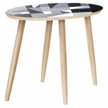 Nyekoncept Ondine Grayscale Patchwork Dowel Side Table