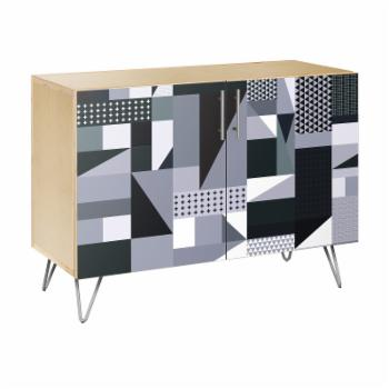 NyeKoncept Grayscale Patchwork Hairpin Credenza