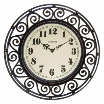 Westclox 12 in. Round Wrought Iron Design Wall Clock