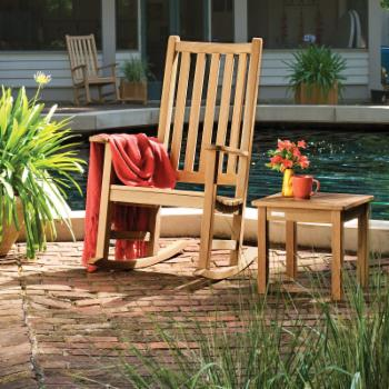 Arya Wood Patio Rocking Chair Set