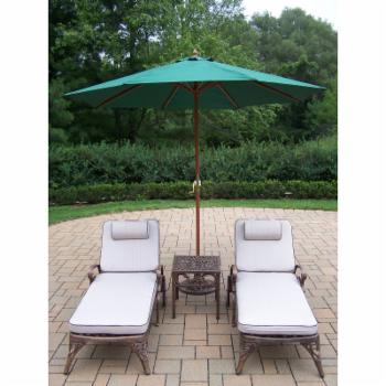 Oakland Living Elite Cast Aluminum Chaise Lounge Chat Set with Umbrella and Stand