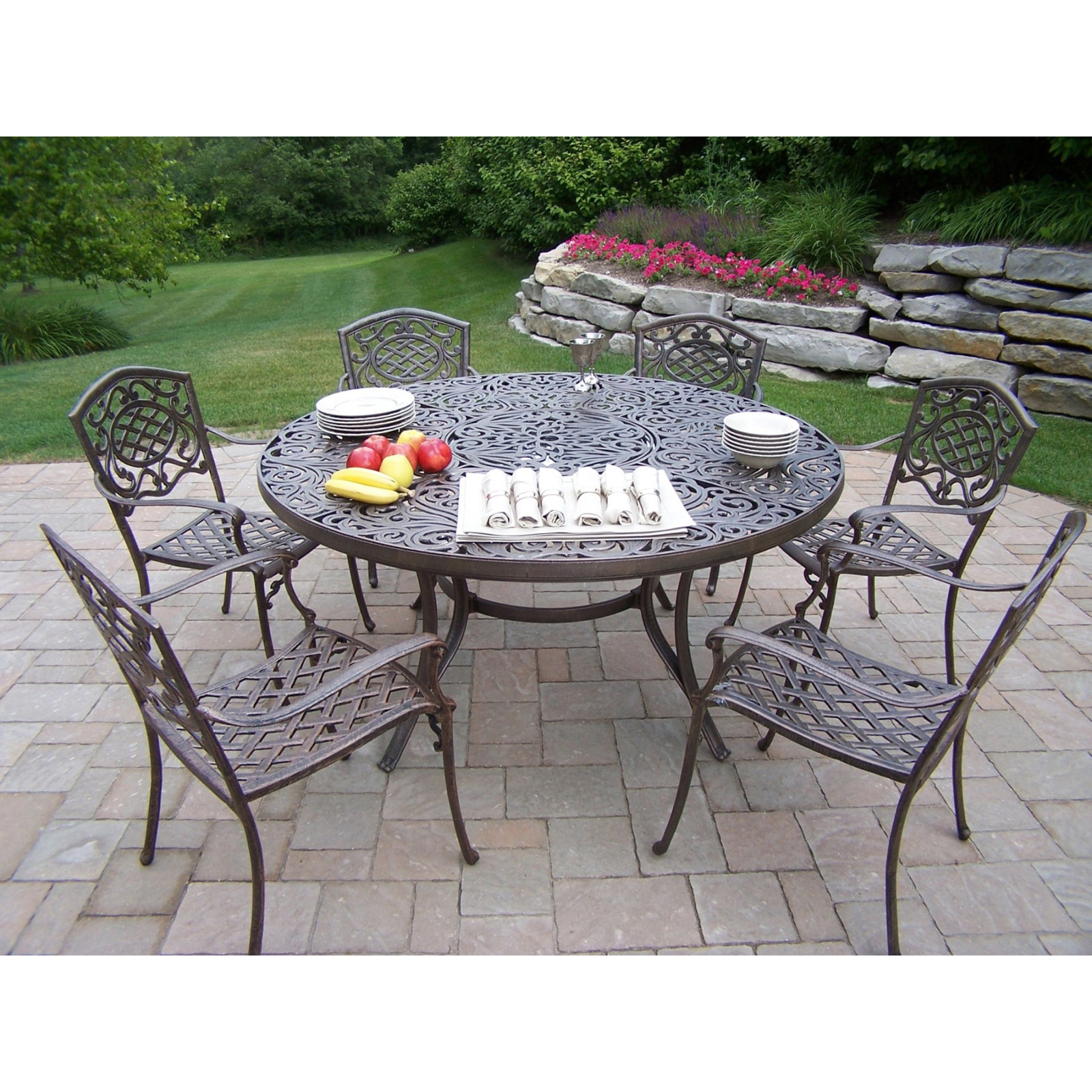 Oakland Living Cascade Patio Dining Set With Umbrella And Stand Hayneedle