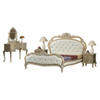 Oakland Living Gold and White with Silver Accent French European 3 Piece Bedroom Set