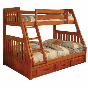 American Furniture Classics Mission Staircase Twin over Full Bunk Bed with 3 Drawers