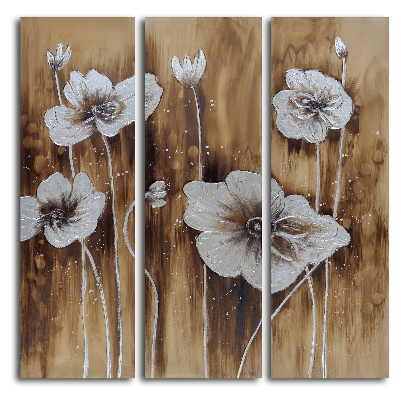 & Muddied Floral March 3-Piece Canvas Wall Art Set | Hayneedle