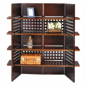 Walnut Finish Book Shelves Room Divider